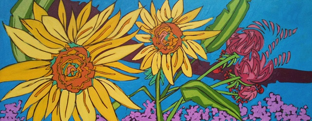 Painting of sunflowers in Provence by Maggie Wolszczan