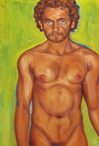 Oil on canvas, art margaux, maggie wolszczan, male nude