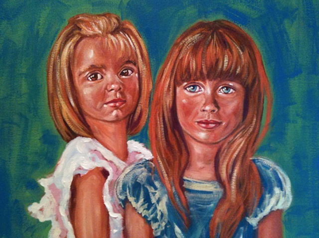 Portraits, little girls, oil painting, beautiful double portrait, art margaux, maggie wolszczan art, commission