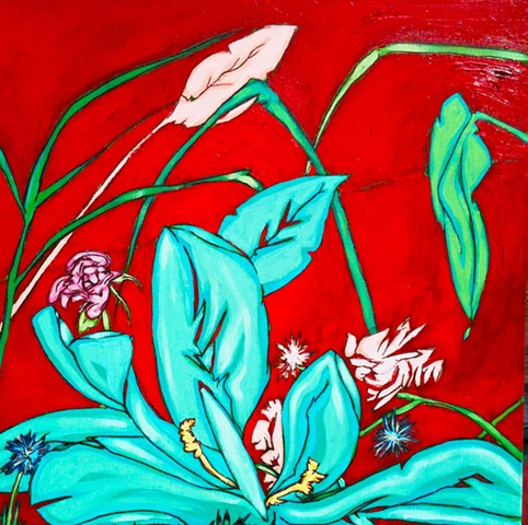 red oil painting, art margaux, maggie wolszczan art, leaves, aqua, rose, acrylic paint, spring