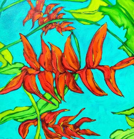 Art Margaux, heliconia, tropical flowers, oil painting, wolszczan