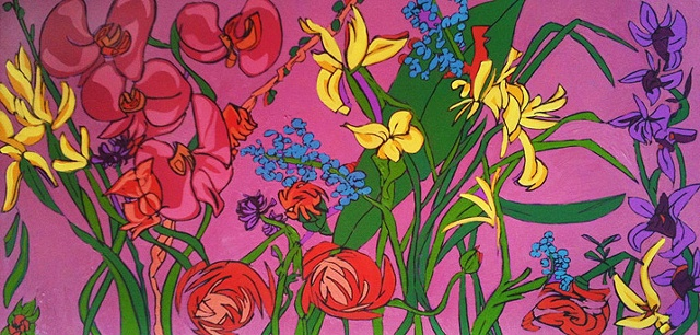 Oil and acylic painting of many flowers by Maggie Wolszczan