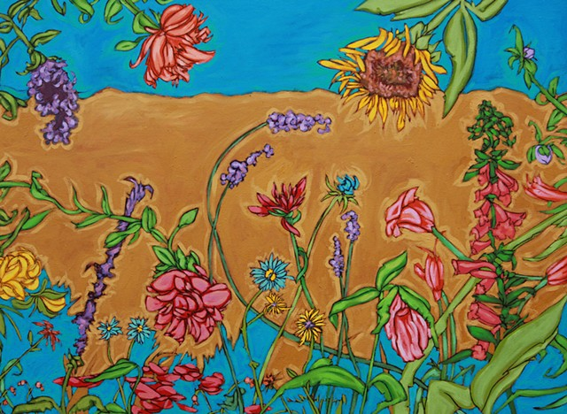 Summer blooming flowers agains earthy tones and sky, art margaux