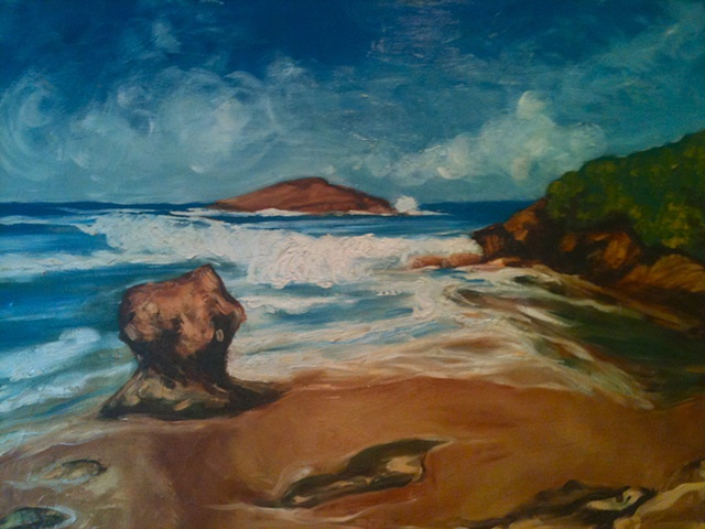 Oil painting of beach Arecibo Puerto Rico by Maggie Wolszczan