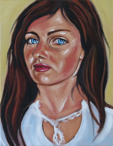 Oil portrait of girl with brown hair by Maggie Wolszczan