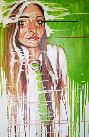 Oil painting of studious woman dripping green by Maggie Wolszczan