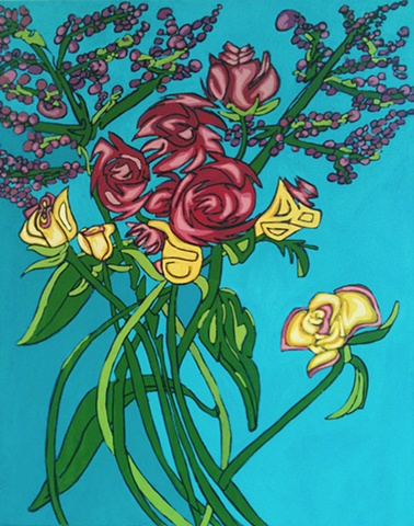 Oil & acrylic painting of peonias by Maggie Wolszczan, Contempo Artisan Boutique, Boalsburg
