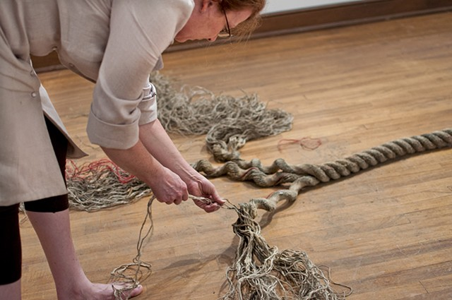 Raveling in the New Year Detail, 2013 Durational performance to create a silence