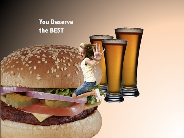 Powerpoint animation collage art video Fran Holstrom deserve burger beer