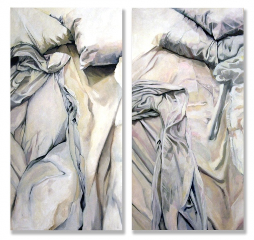 white bed diptych