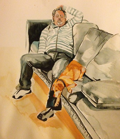Tod and Sugar on the Blue Couch