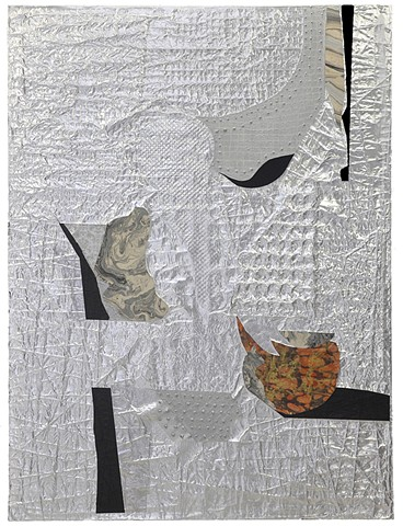 "Untitled (Chronicle Series)- acrylic, hand made paper, collage, aluminum foil, staples: 45""x60"", 2016-2017"