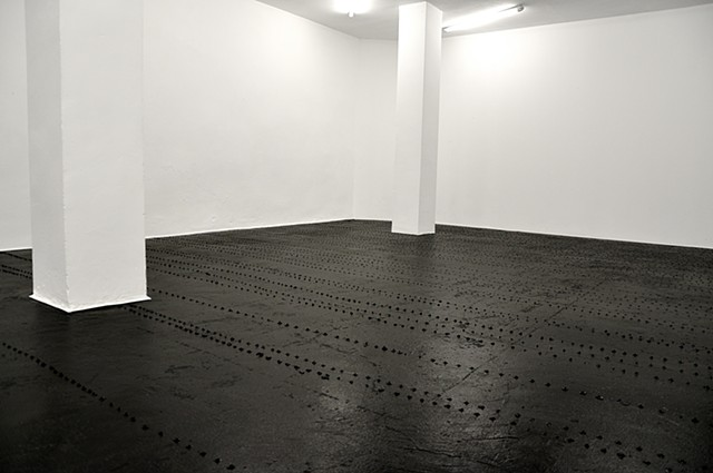 Untitled - acrylic, enamel paint, household paint on the floor 950x500cm
