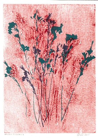 Pressed Flowers I - Collograph + Screenprint