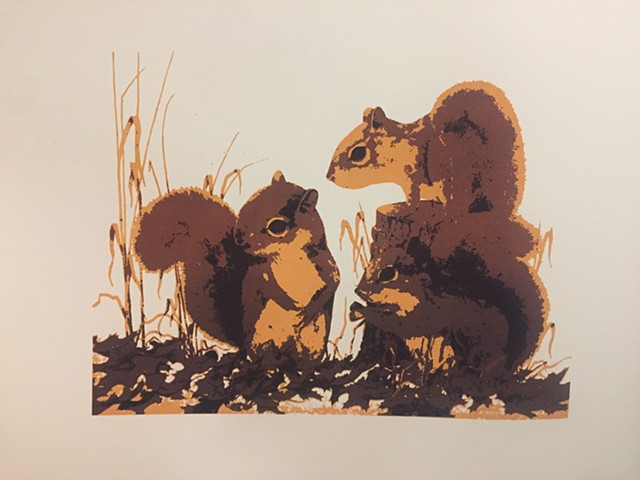 Squirrels - Private Commission - Silkscreen Edition of 7