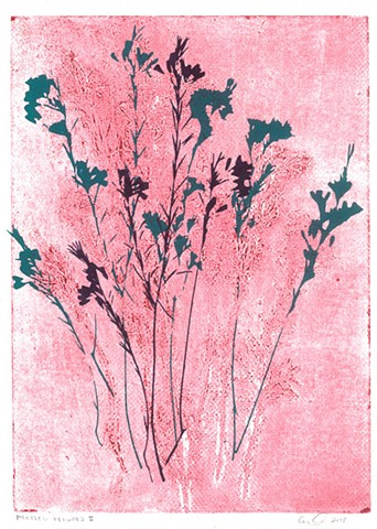 Pressed Flowers II - Collograph + Screenprint