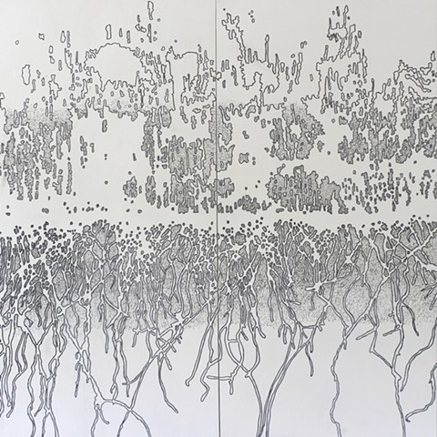 a drawing referencing forest fires by Michael Boonstra using acrylic and graphite