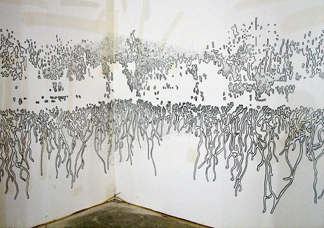 A wall drawing by Michael Boonstra referencing a forest fire.