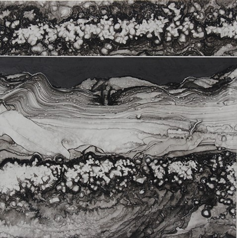 Michael Boonstra, Oregon artist, evaporated ink drawing.