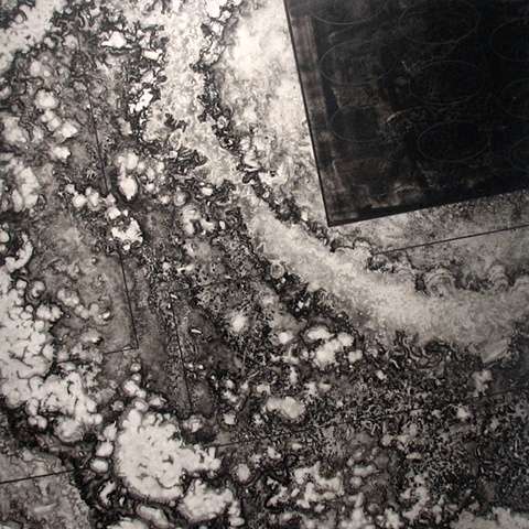 Michael Boonstra using evaporated ink referencing topographies and aerial landscapes.