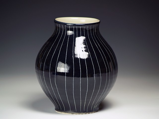 Black with White Stripes Vase