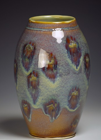 Blue/Brown Vase with Circles