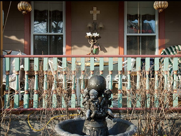cherub, porch, Ocean Grove, cross, rural