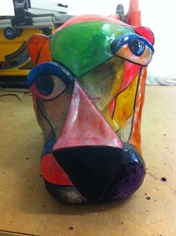 Mask in progress.