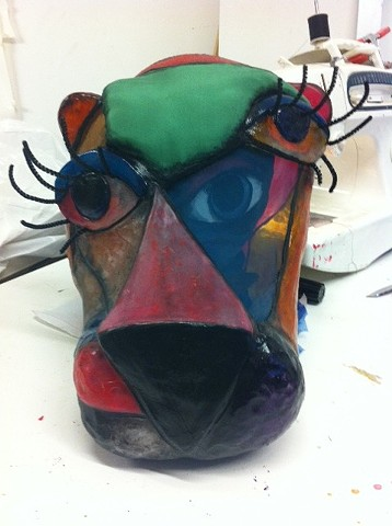 Completed mask inside mask, in the studio.