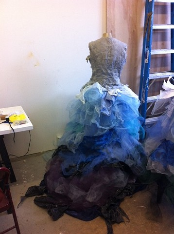 Making the hoop skirts in the studio.