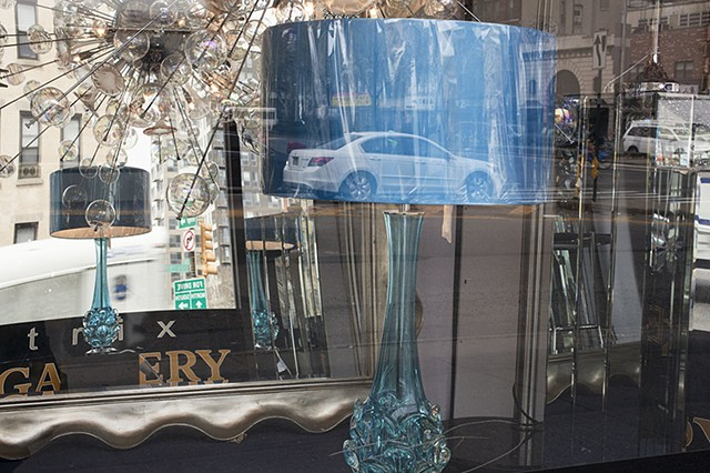 Blue Lamp Shade with White Car