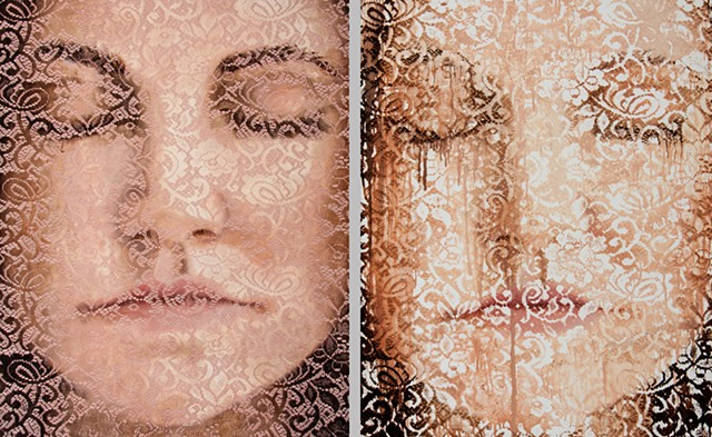 Oil portrait on lace
