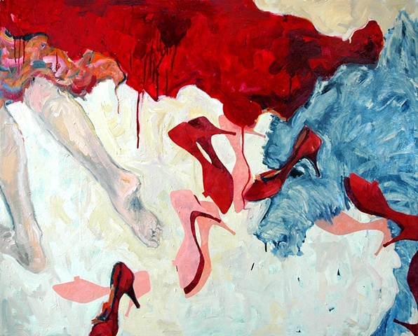 mixed metaphor of child's tale  The Red Shoes and Red Riding Hood