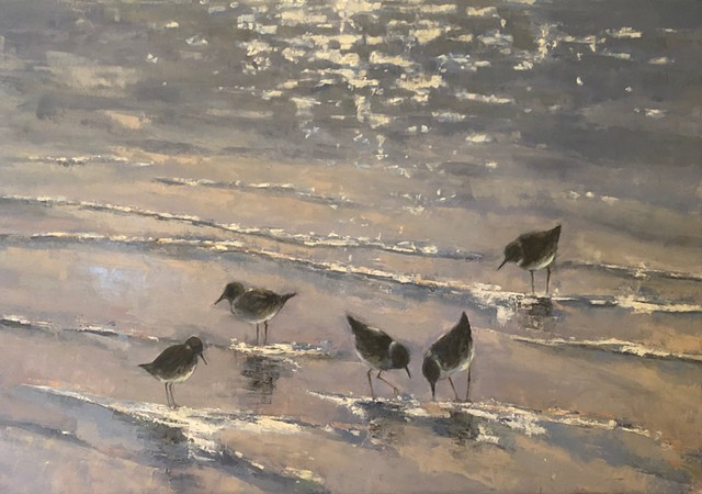Shorebirds On A Sparkling Sea Revisited - SOLD