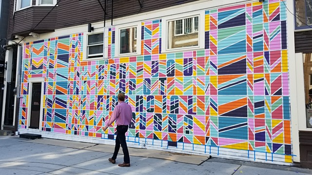 Mural, street art, Seattle, geometric, hidden message, colorful
