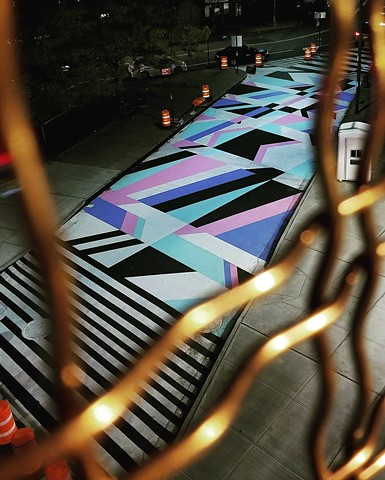 Mural, street art, asphalt art, New York, geometric, absract