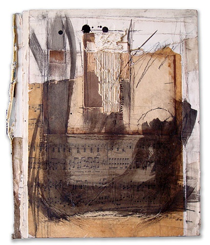 Crystal Neubauer Original Collage Mixed Media  Fine Art 12 x 30 Let There Be Sound