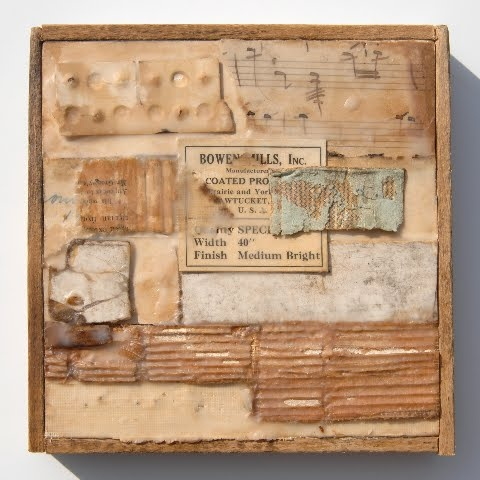 Original Fine Art ENCAUSTIC WAX COLLAGE Mixed Media on Cradled Canvas and RECLAIMED WOOD FRAME