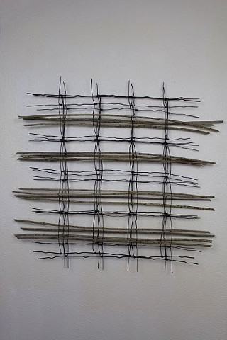 wire, sunflower stem sculpture