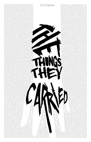 'The Things They Carried' Book cover concept using only text