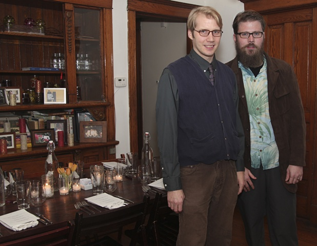 Isak Applin and Carl Baratta at Sunday Dinner Club talk