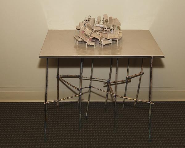 Brian McNearney, Design Museum, acrylic, plastic furniture, Plexiglas, bamboo, raw pigment 36 x 32 x 24 inches 2011