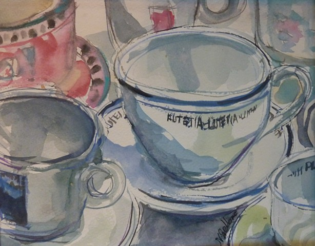coffee, teacup, blue, watercolor,