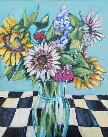 flowers, sunflowers, checkers, still life, floral