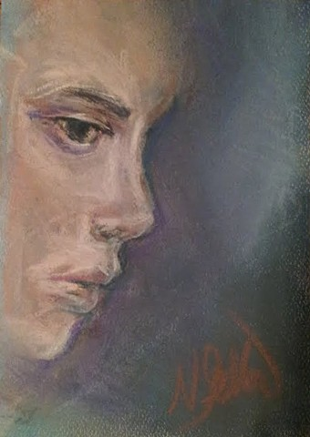 portrait, pastel, emotions,