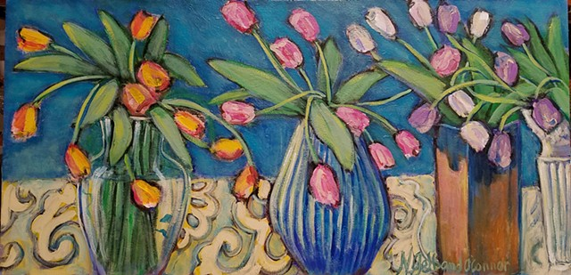 tulips, floral, still life, turquoise, wall art, original painting