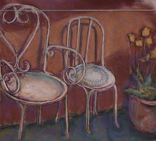 chairs, wrought iron, brown, sunlight, shadow, flowers