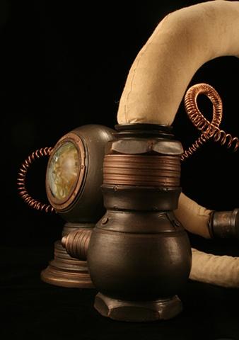 obsolete equipment ceramic sculpture mixed media