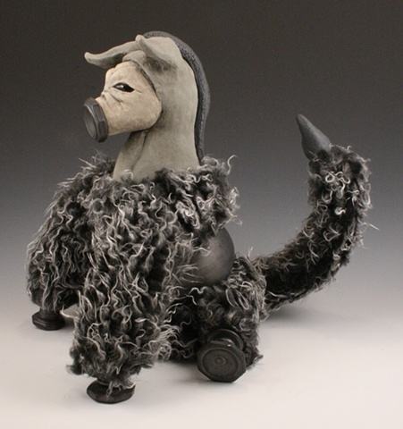 ceramic, sculpture, donkey, mixed media, cyborg