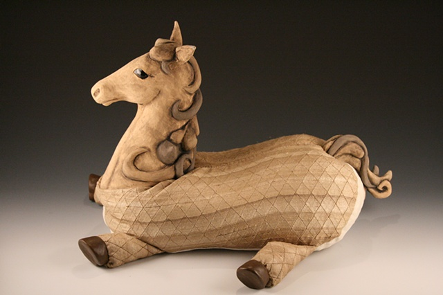 Ceramic, sculpture, dolls, designer horse, mixed media